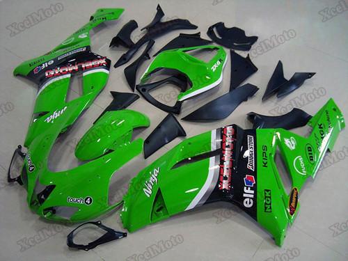 Kawasaki Ninja ZX6R green fairings and body kits, 2007 2008 Kawasaki Ninja ZX6R OEM replacement fairings and bodywork