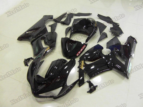 Kawasaki Ninja ZX6R gloss black fairings and body kits, 2005 2006 Kawasaki Ninja ZX6R OEM replacement fairings and bodywork.