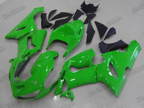 Kawasaki Ninja ZX6R green fairings and body kits, 2005 2006 Kawasaki Ninja ZX6R OEM replacement fairings and bodywork.
