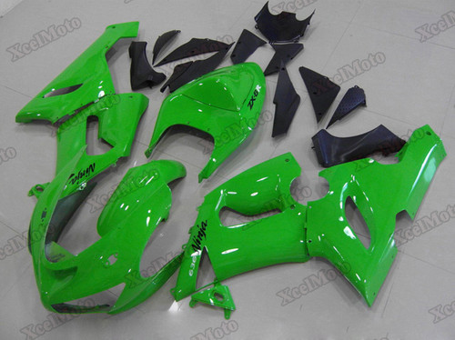 Kawasaki Ninja ZX6R green fairings and body kits, 2005 2006 Kawasaki Ninja ZX6R OEM replacement fairings and bodywork.