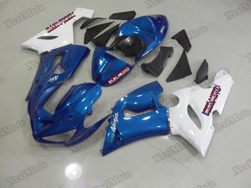 Kawasaki Ninja ZX6R blue and white fairings and body kits, 2005 2006 Kawasaki Ninja ZX6R OEM replacement fairings and bodywork.