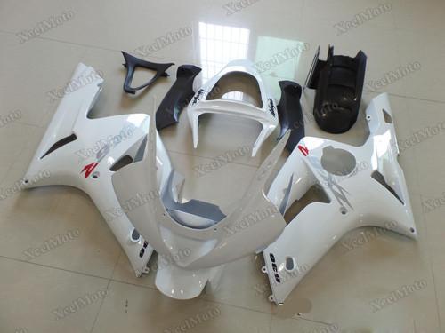 Kawasaki Ninja ZX6R pearl white fairings and body kits, 2003 2004 Kawasaki Ninja ZX6R OEM replacement fairings and bodywork.