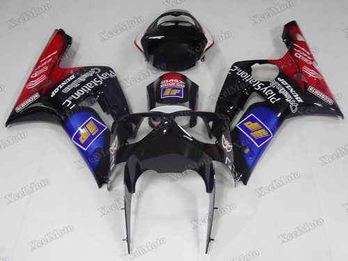 Kawasaki Ninja ZX6R black and red fairings and body kits, 2003 2004 Kawasaki Ninja ZX6R OEM replacement fairings and bodywork.