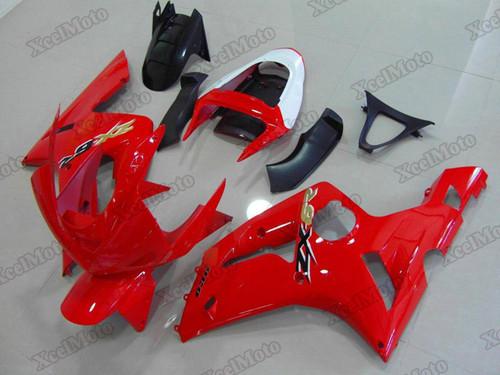 Kawasaki Ninja ZX6R red fairings and body kits, 2003 2004 Kawasaki Ninja ZX6R OEM replacement fairings and bodywork.