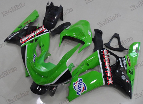 2003 2004 Kawasaki Ninja ZX6R green and black fairings