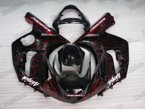 Kawasaki Ninja ZX6R ghost flame fairings and body kits, 2003 2004 Kawasaki Ninja ZX6R OEM replacement fairings and bodywork.