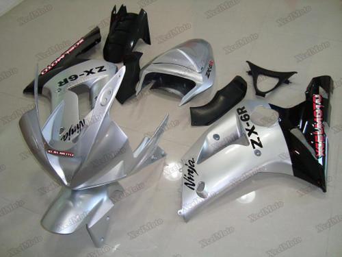 Kawasaki Ninja ZX6R silver and black fairings and body kits, 2003 2004 Kawasaki Ninja ZX6R OEM replacement fairings and bodywork.
