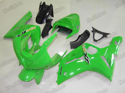 Kawasaki Ninja ZX6R green fairings and body kits, 2003 2004 Kawasaki Ninja ZX6R OEM replacement fairings and bodywork.