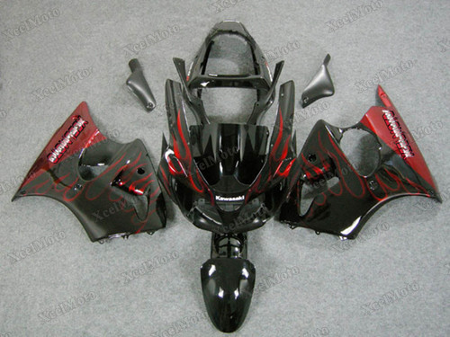 Kawasaki Ninja ZX6R ghost flame fairings and body kits, 2001 2002 Kawasaki Ninja ZX6R OEM replacement fairings and bodywork.