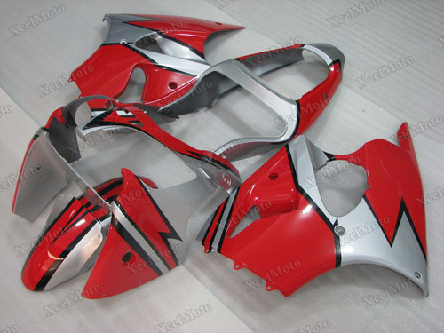 Kawasaki Ninja ZX6R red and silver fairings and body kits, 2001 2002 Kawasaki Ninja ZX6R OEM replacement fairings and bodywork.
