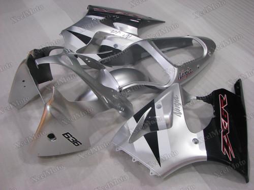 Kawasaki Ninja ZX6R red and silver fairings and body kits, 2001 2002 Kawasaki Ninja ZX6R OEM replacement fairings and bodywork.