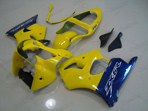 Kawasaki Ninja ZX6R yellow and blue fairings and body kits, 2001 2002 Kawasaki Ninja ZX6R OEM replacement fairings and bodywork.