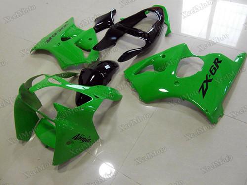 Kawasaki Ninja ZX6R green and black fairings and body kits, 2001 2002 Kawasaki Ninja ZX6R OEM replacement fairings and bodywork.