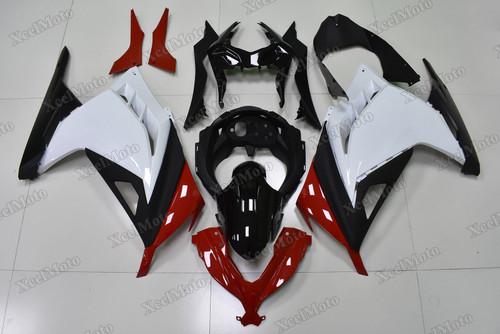 Kawasaki Ninja 300 red white and black fairings and body kits, 2013 to 2017 Kawasaki Ninja 300 OEM replacement fairings and bodywork.
