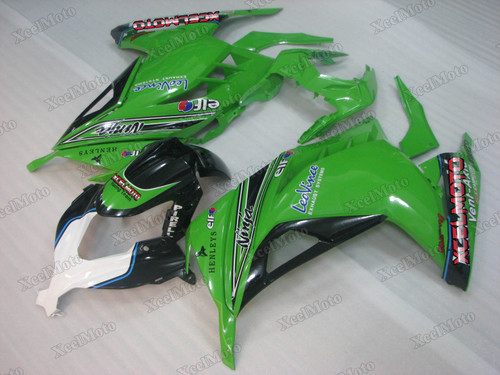 Kawasaki Ninja 300 green and black fairings and body kits, 2013 to 2017 Kawasaki Ninja 300 OEM replacement fairings and bodywork.
