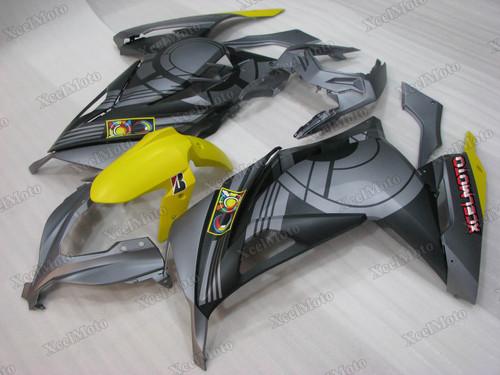 Kawasaki Ninja 300 matte grey fairings and body kits, 2013 to 2017 Kawasaki Ninja 300 OEM replacement fairings and bodywork.