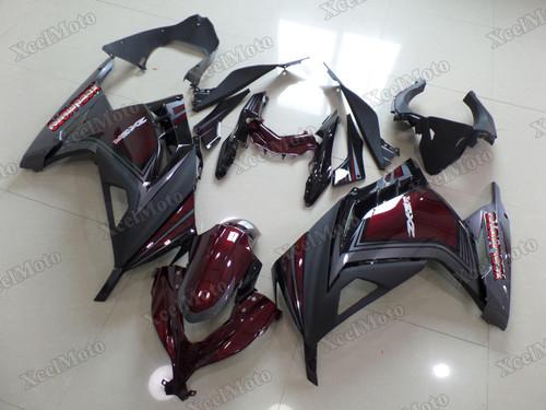 Kawasaki Ninja 300 red and grey fairings and body kits, 2013 to 2017 Kawasaki Ninja 300 OEM replacement fairings and bodywork.