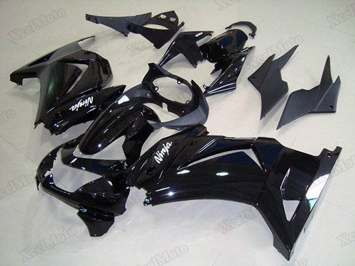 Kawasaki Ninja 250R EX250 gloss black fairings and body kits, 2008 to 2012 Kawasaki Ninja 250R EX250 OEM replacement fairings and bodywork.