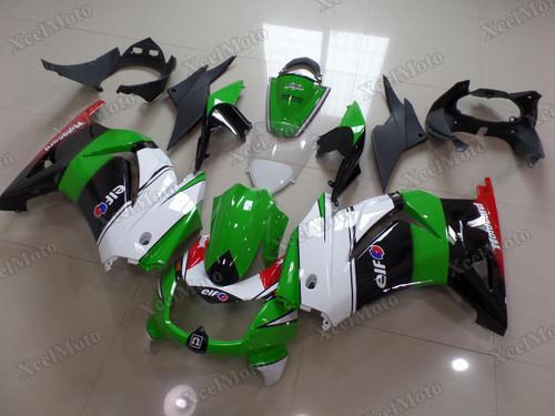 Kawasaki Ninja 250R EX250 green white and black fairings and body kits, 2008 to 2012 Kawasaki Ninja 250R EX250 OEM replacement fairings and bodywork.