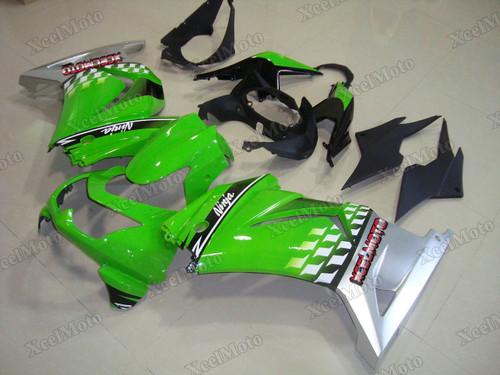 Kawasaki Ninja 250R EX250 green and silver fairings and body kits, 2008 to 2012 Kawasaki Ninja 250R EX250 OEM replacement fairings and bodywork.