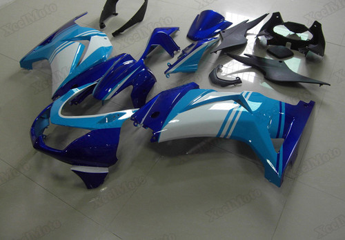 Kawasaki Ninja 250R EX250 blue and white fairings and body kits, 2008 to 2012 Kawasaki Ninja 250R EX250 OEM replacement fairings and bodywork.
