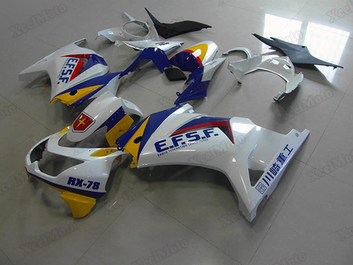 Kawasaki Ninja 250R EX250 white fairings and body kits, 2008 to 2012 Kawasaki Ninja 250R EX250 OEM replacement fairings and bodywork.