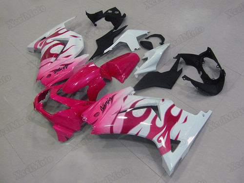 Kawasaki Ninja 250R EX250 pink and white fairings and body kits, 2008 to 2012 Kawasaki Ninja 250R EX250 OEM replacement fairings and bodywork.