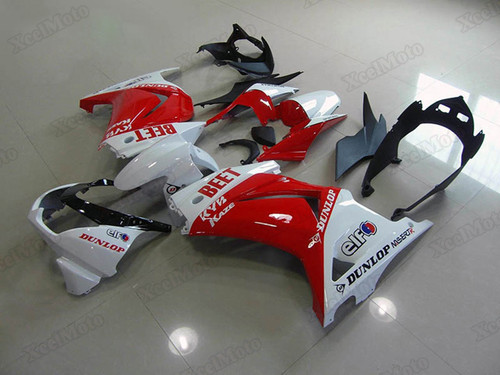 Kawasaki Ninja 250R EX250 red and white fairings and body kits, 2008 to 2012 Kawasaki Ninja 250R EX250 OEM replacement fairings and bodywork.