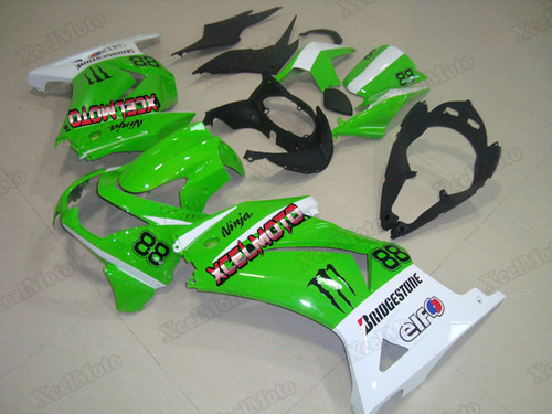 Kawasaki Ninja 250R EX250 green and white fairings and body kits, 2008 to 2012 Kawasaki Ninja 250R EX250 OEM replacement fairings and bodywork.