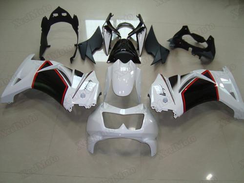 Kawasaki Ninja 250R EX250 white and black fairings and body kits, 2008 to 2012 Kawasaki Ninja 250R EX250 OEM replacement fairings and bodywork.