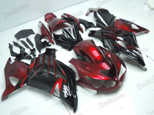 Kawasaki Ninja ZX14R ZZR1400 red and black fairings and body kits, 2012 to 2018 Kawasaki Ninja ZX14R ZZR1400 OEM replacement fairings and bodywork.