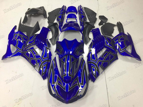 Kawasaki Ninja ZX14 ZZR1400 blue fairings and body kits, 2012 to 2018 Kawasaki Ninja ZX14 ZZR1400 OEM replacement fairings and bodywork.