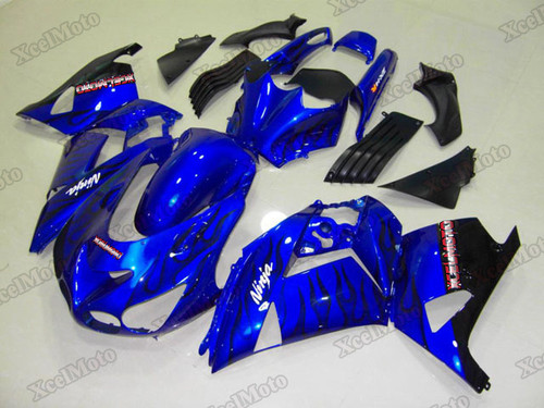 Kawasaki Ninja ZX14 ZZR1400 blue fairings and body kits, 2012 to 2018 Kawasaki Ninja ZX14 ZZR1400 OEM replacement fairings and bodywork.