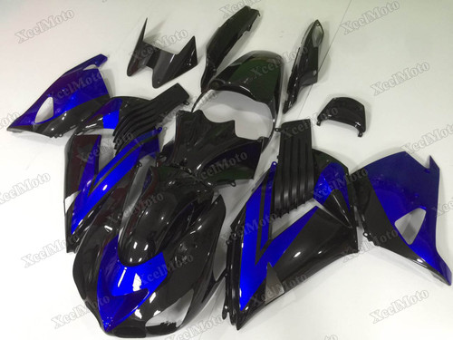 Kawasaki Ninja ZX14 ZZR1400 black and blue fairings and body kits, 2012 to 2018 Kawasaki Ninja ZX14 ZZR1400 OEM replacement fairings and bodywork.