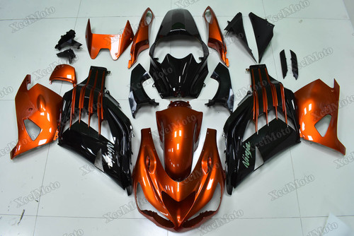 Kawasaki Ninja ZX14 ZZR1400 orange and black fairings and body kits, 2012 to 2018 Kawasaki Ninja ZX14 ZZR1400 OEM replacement fairings and bodywork.