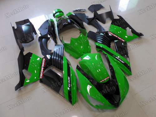 Kawasaki Ninja ZX14 ZZR1400 green and black fairings and body kits, 2012 to 2018 Kawasaki Ninja ZX14 ZZR1400 OEM replacement fairings and bodywork.