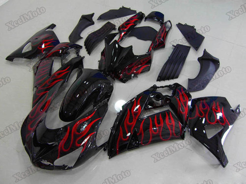 Kawasaki Ninja ZX14 ZZR1400 ghost flame fairings and body kits, 2012 to 2018 Kawasaki Ninja ZX14 ZZR1400 OEM replacement fairings and bodywork.
