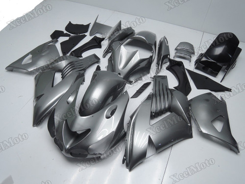 Kawasaki Ninja ZX14 ZZR1400 grey metallic fairings and body kits, 2012 to 2018 Kawasaki Ninja ZX14 ZZR1400 OEM replacement fairings and bodywork.