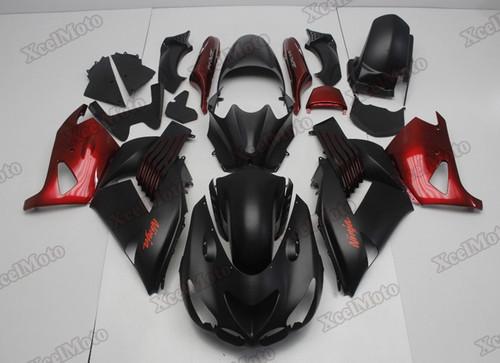 Kawasaki Ninja ZX14 ZZR1400 black and red fairings and body kits, 2012 to 2018 Kawasaki Ninja ZX14 ZZR1400 OEM replacement fairings and bodywork.