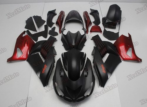 Kawasaki Ninja ZX14 ZZR1400 black and red fairings and body kits, 2012 to 2018 Kawasaki Ninja ZX14 ZZR1400 OEM replacement fairings and bodywork.