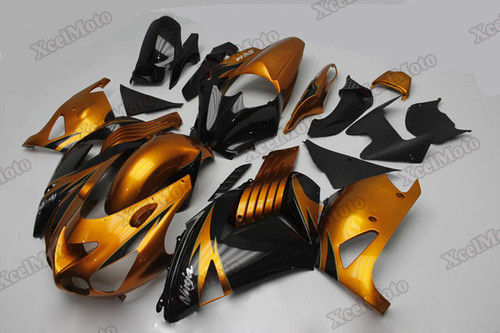 Kawasaki Ninja ZX14 ZZR1400 gold and black fairings and body kits, 2012 to 2018 Kawasaki Ninja ZX14 ZZR1400 OEM replacement fairings and bodywork.