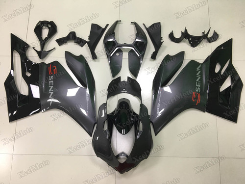 Ducati 899 1199 Panigale grey metallic grey and gloss black paint fairings
