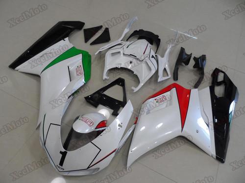 Ducati 848 1098 1198 pearl white fairings and body kits, Ducati 848 1098 1198 OEM replacement fairings and bodywork.