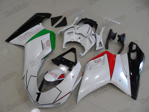 Ducati 848 1098 1198 pearl white fairings and body kits, Ducati 848 1098 1198 OEM replacement fairings and bodywork.