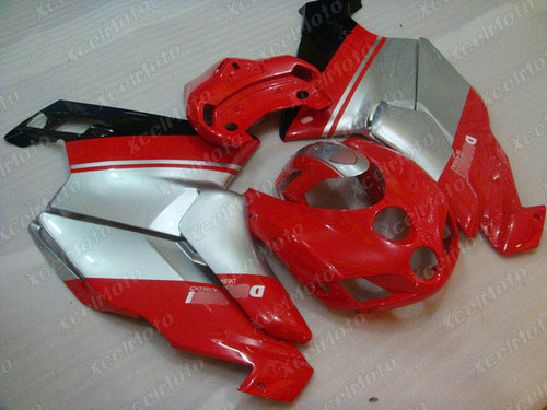 2005 2006 Ducati 749/999 red and silver and white fairings and body kits, 2005 2006 Ducati 749/999 OEM replacement fairings and bodywork.