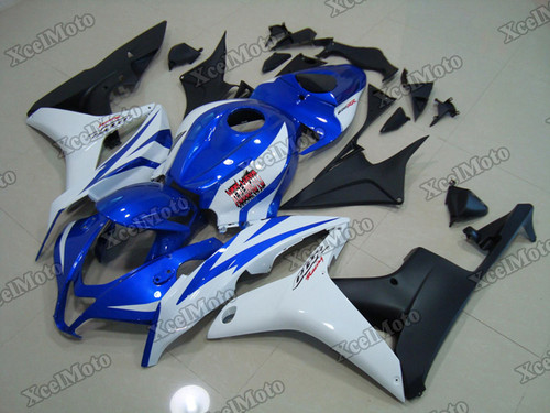 2007 2008 Honda CBR600RR blue white and black fairings