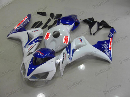 2006 2007 Honda CBR1000RR aftermarket fairing white and blue.