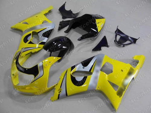 2001 to 2003 Suzuki GSX-R600, 2000 to 2003 Suzuki GSX-R750 yellow and black fairing