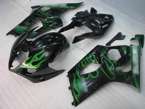 2003 2004 SUZUKI GSXR1000 GIXXER K3 K4 black fairing with green flame