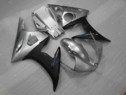 2003 2004 2005 Yamaha YZF R6 silver and black fairing and bodywork
